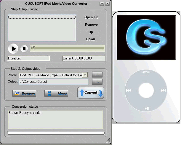 Cucusoft iPod Video Converter Screenshot 1: Advanced Profile Advanced Control ermöglicht über Ihren iPod Video. Einfache Schnittstelle, Drag & Drop, One click and thats all es takes.
